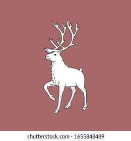 Deer with horns, deer contour, vector, 10 eps