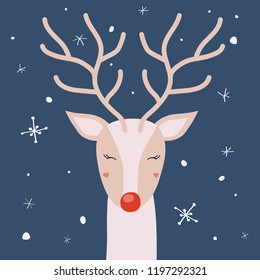 Deer with horns enjoying the snow, Christmas winter vector illustration for the design of cards, packaging, clothing