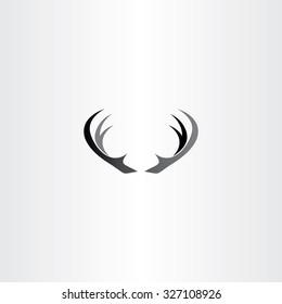 deer horns icon vector black logo symbol
