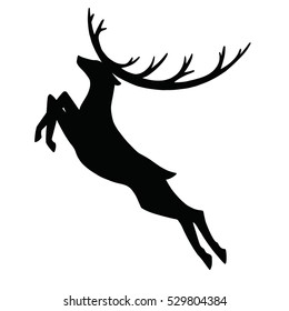 Deer with horns jumping - silhouette isolated on white background - for holiday christmas greeting card or poster, banner, sticker. Hand drawn vector illustration for new year season.