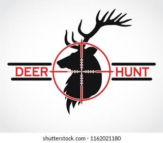 deer hunt black red logo