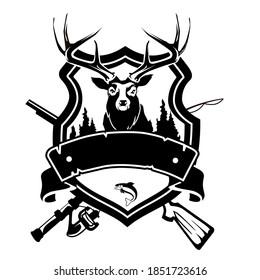 deer hunt logo cartoon in vector