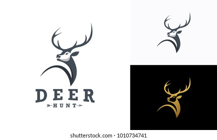 Deer Hunt Logo template, Elegant Deer Head logo designs vector