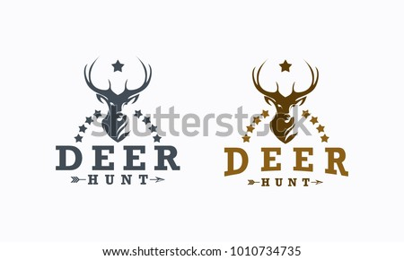 deer hunt logo template elegant deer のベクター画像素材
