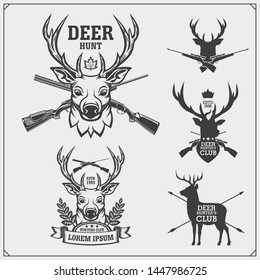 Deer hunt. Set of vintage hunting labels, badges and design elements.