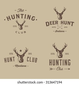 Deer hunter badges labels logo design elements.