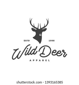 deer and hunter logo illustration