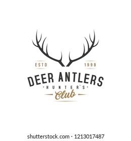 deer hunter logo template, deer antlers, vintage, brand logo