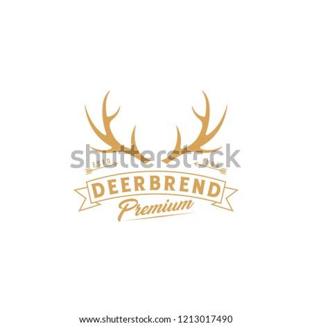 deer hunter logo template deer antlers stock vector royalty free