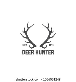 Deer Hunters Club Abstract Vintage Label or Logo Template with Antlers, Textures and Retro Typography. Also Good for Posters, Flayers, T-shirt Prints, etc.