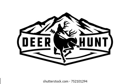 Deer hunting badge logo with a combination of mountain