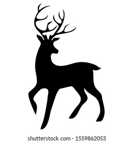 Deer icon black isolated on white background. The silhouette of a walking deer with horns, turned back. Vector stock illustration.