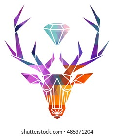 Deer icon, vector icon set. Abstract triangular style