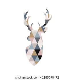 Deer illustration in patchwork style. Scandinavian poster. Geometric vector deer  illustration.