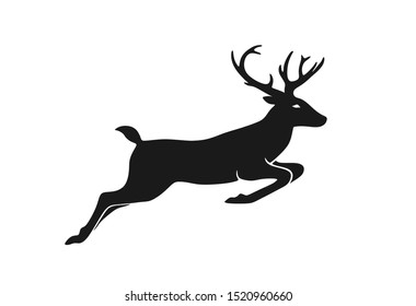 deer jumping. element of Christmas design. Christmas symbol. isolated vector silhouette image of animal