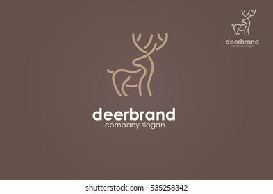 Deer line logo. Design template, Vector logo illustration