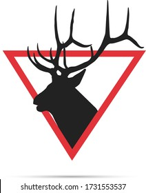 Deer logo design with red tringle graphic trendy logo for wildlife sanctuary.