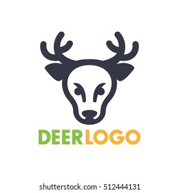 deer logo element for national park, wildlife sanctuary, simple icon on white