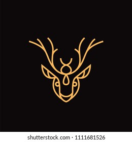 Deer logo on black background with yellow lines