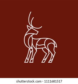 Deer logo on red background with white lines