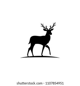 Deer logo template , silhouette deer - vector Illustration