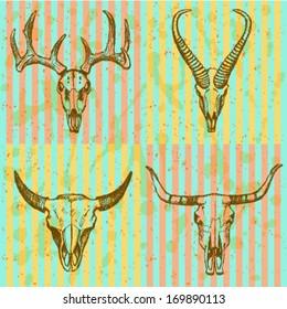 Deer, longhorn, springbok, bison, vector sketch set