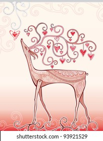 Deer love. A beautiful illustration of the Valentine's Day, with a deer, climbing branches and lots of hearts.