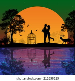 Deer and lovers at sunset near water on beautiful landscape, vector illustration
