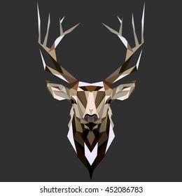 Deer. Low poly deer. Low poly illustration deer. Polygonal deer .