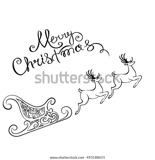 deer merry Christmas poster template. Vector illustration. Greeting card
