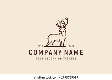 deer monoline logo design vector template