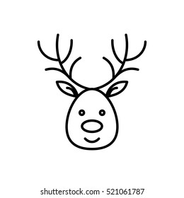deer moose stag antler xmas christmas winter santa new year outline thin line vector icon black on white background