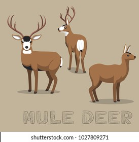 Deer Mule Cartoon Vector Illustration