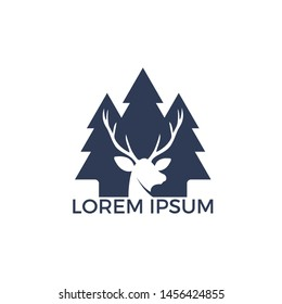 Deer with north wild pine tree silhouette logo icon designs. Vector illustration template. for hunting and wild adventure logo product and trip.