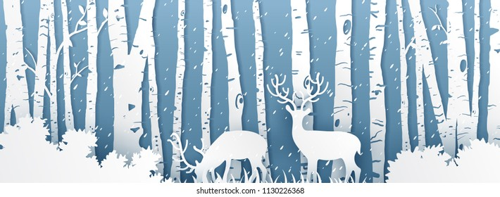 Deer on mountain in panorama,Nature landscape background,paper origami style vector illustration.