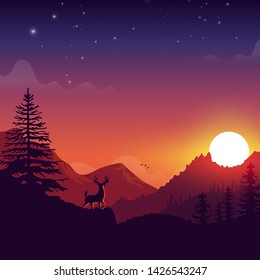 Deer on a mountain with sunset landscape silhouette cartoon illustration