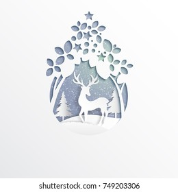 Deer on snow and winter season background.For merry christmas and happy new year paper art style.Vector illustration.