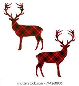 Deer on tartan background. Vector illustration.