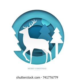 Deer on winter forest in paper cut trendy craft cartoon style. Christmas, new year modern design for advertising, branding background greeting card, cover, poster, banner. Vector illustration.