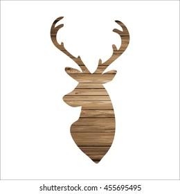 deer on a wooden texure vector