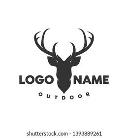 deer and outdoor logo illustration