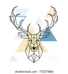 Deer polygonal head. Scandinavian style. Vector illustration.
