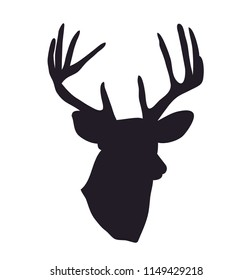 deer portrait silhouette, vector, white background