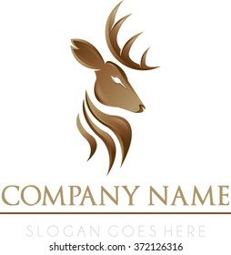 Deer professional logo vector | Royal deer gold brown logo vector | Hipster luxury logo vector
