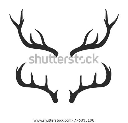 Deer Reindeer Antlers Isolated Border Frame Stock Vector (Royalty ...