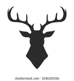 Deer, reindeer, buck head isolated. Wild animal silhouette. Vector hand drawn ink artwork. Black and white, monochrome. Vintage, retro style. Simple hipster fashion logo, label, branding.