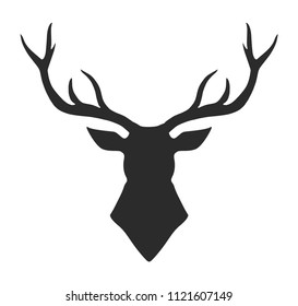 Deer, reindeer head isolated. Wild animal silhouette. Vector artwork. Black and white, monochrome.