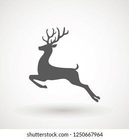 Deer running silhouette , Reindeer icon design for Xmas cards, banners and flyers, vector illustration isolated on white background. Logo template. Elk logotype. Hunting