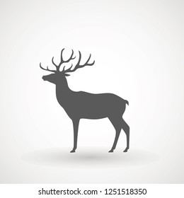 Deer running silhouette , Reinder icon design for Xmas cards, banners and flyers, vector illustration isolated on white background. Logo template. Elk logotype. Hunting