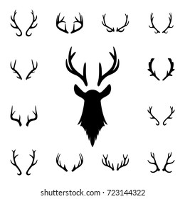 Deer s head and antlers set. Design elements of deer